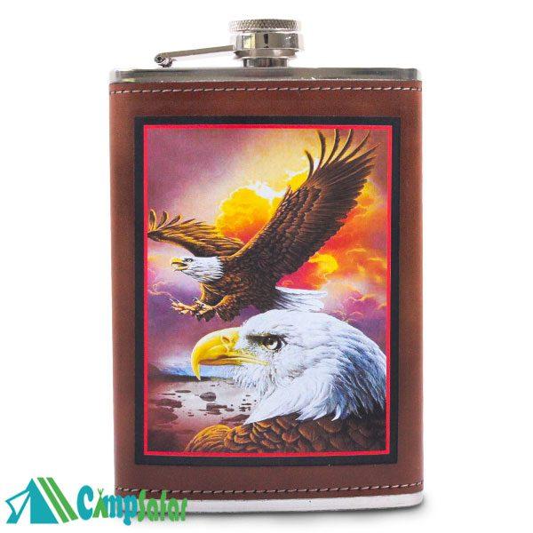 قمقمه کتابی مسافرتی HIP چرمی طرح عقاب